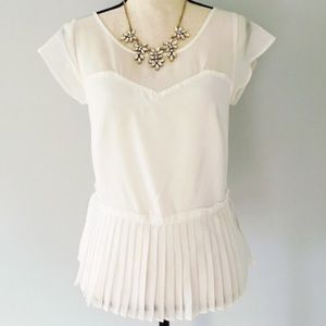 American Eagle Outfitters White Chiffon Peplum Top
